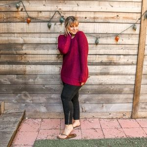 Cozy oversized maroon knit sweater